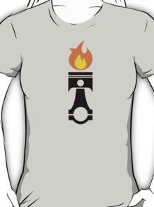 Flaming Piston (fire black) T-Shirt