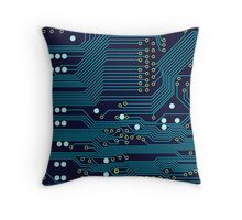 Dark Circuit Board Throw Pillow