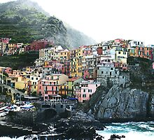 One of the villages of the Cinque Terre, Italia by Amber Elen-Forbat