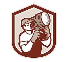Electrical Lighting Technician Carry Spotlight Shield by patrimonio