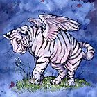 Winged Tiger Cub Throw Pillow by cybercat