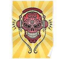 Red and Yellow DJ Sugar Skull Poster