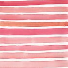 Candy Pink Watercolour Stripes by Pip Gerard