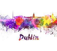 Dublin skyline in watercolor by paulrommer