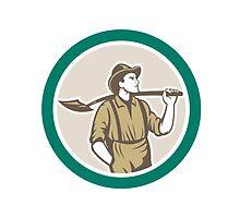 Prospector Miner With Shovel Circle Retro by patrimonio