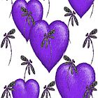 Love Hearts and Dragonflies Purple by lyndseyart