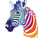 Rainbow Zebra Portrait, Colorful Animal Art by OlechkaDesign