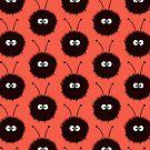 Red Cute Dazzled Bugs Pattern by Boriana Giormova