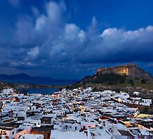 Night falling in Lindos - Rhodes island by Hercules Milas