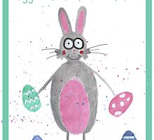 Bunny Easter/Greetings Card by Francesca  Fearnley