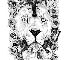Floral Lion - Fineliner Illustration by InkheartLondon