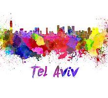 Tel Aviv skyline in watercolor by paulrommer