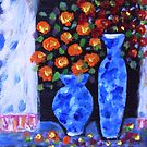 blue vases (throw pillow on blue) by catherine walker