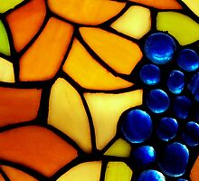 Stained Glass Grapes Throw Pillow by Betty Northcutt