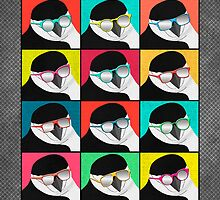 Chinstrap Penguins Pop Art by Janet Carlson