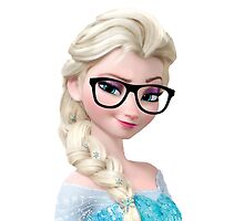 Frozen Elsa Geeky Glasses Retro Nerd Hipster Disney Art Throw Pillow by dollyforsue