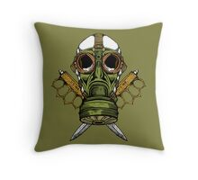 Gas Mask and Trench Knife  Throw Pillow