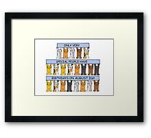 Cats celebrating a birthday on August 31st. Framed Print