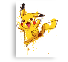 Pikachu Splatter Canvas Print