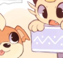 Cute Growlithe and Meowth <3 Sticker