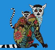 ring tailed lemur love blue by Sharon Turner
