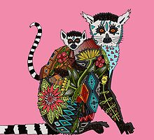 ring tailed lemur love pink by Sharon Turner