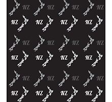 NZ New Zealand map on black pattern by jazzydevil