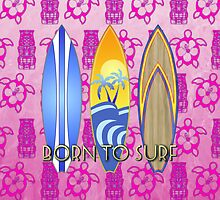 Born To Surf Pink Tiki by BailoutIsland