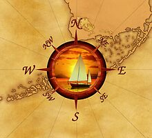 Compass Rose And Sunset by BailoutIsland