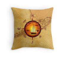 Compass Rose And Sunset Throw Pillow