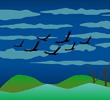 Free Birds in Dark Night by DFLC Prints
