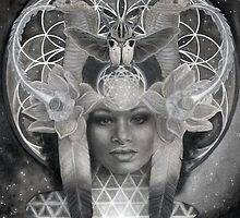 Egyptian Goddess Nephthys in Black and White by PearlWhitecrow