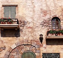 Windows with flowers of old rustic house art photo print by ArtNudePhotos
