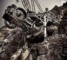 Steampunk land boring machine at Disneysea black and white art photo print by ArtNudePhotos