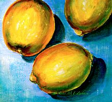Lemons on Blue Canvas by © Janis Zroback