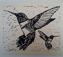 Black Ink Humming Birds on a gold monoprint  by CarmenH
