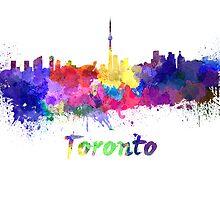Toronto skyline in watercolor by paulrommer