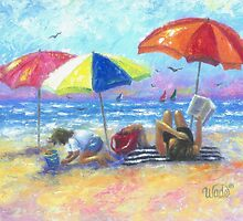 At the Beach With Mom by VickieWade