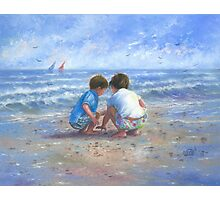 Finding Sea Shells Brother and Sister Photographic Print