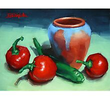 Chilli Peppers And Pot Photographic Print