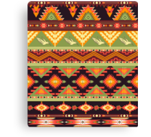 Seamless colorful aztec pattern with birds and arrow Canvas Print