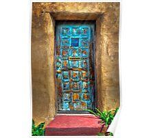 A Santa Fe Blue Door Poster