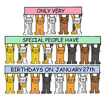 Cats celebrating birthdays on January 27th. by KateTaylor