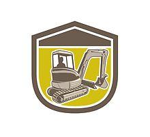 Mechanical Digger Excavator Shield Retro by patrimonio