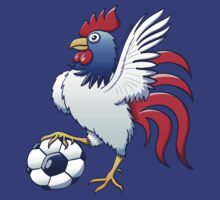 Rooster Posing and Stepping on a Soccer Ball by Zoo-co