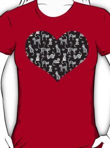 Teacher's Pet - chalkboard cat pattern T-Shirt