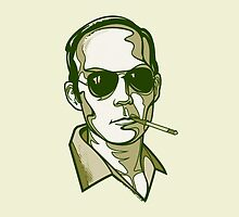Hunter S. Thompson green pillow by Cloxboy