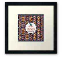 Hipster seamless aztec pattern with geometric elements and typographic text Framed Print