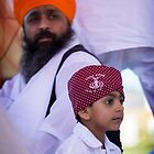 Sikh Holy Man and his Son by Carolyn Boyden