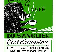 Antique Belgian Coffee Boar Advertising Poster by retrographics